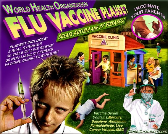 Billions in Vaccine Damage Payouts  David_Dees_flu_vacc_playset